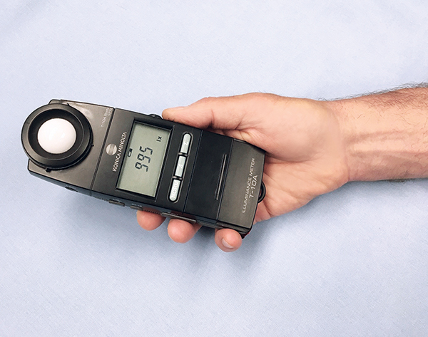 NIOSH researchers measured illuminance levels with an incident light meter, which was placed horizontally with the sensor facing upward. Photo: NIOSH