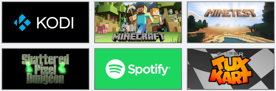 A curated selection of apps like Spotify and KODI can be installed through gameros.local
