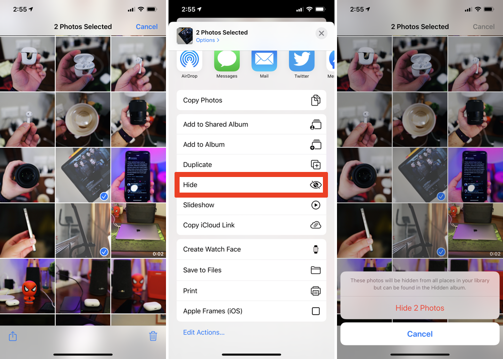 Hide private photos on iPhone and iPad from Photos app