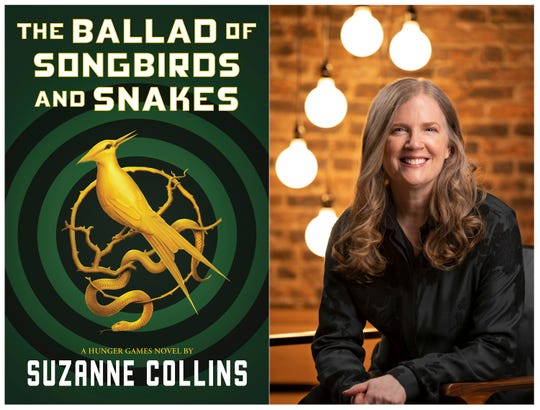 """This combination of images shows the cover image for """"The Ballad of Songbirds and Snakes,"""" by Suzanne Collins and a portrait of the author."""
