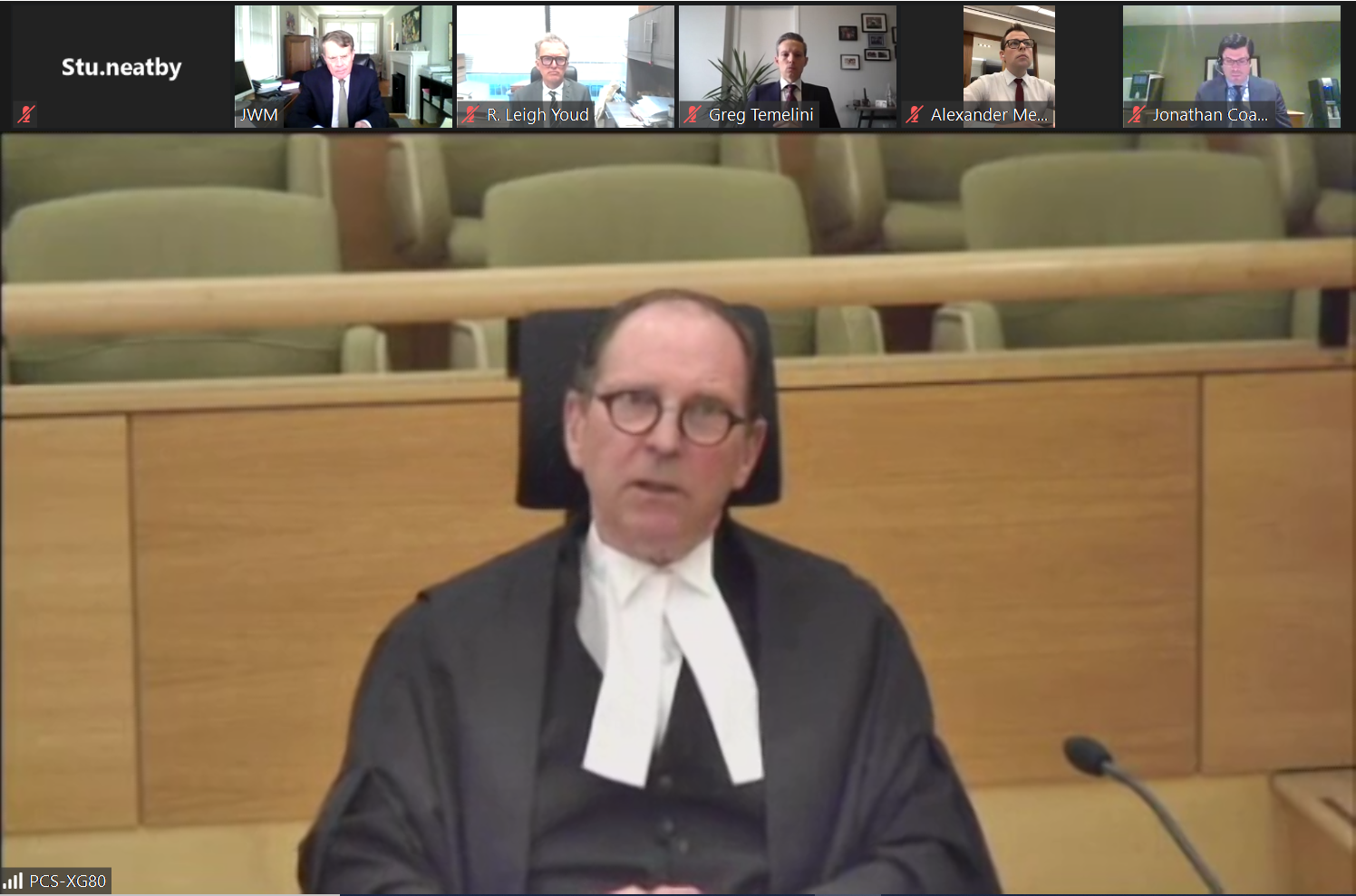 Justice David Jenkins appears via video conference during a hearing before the Court of Appeal on Tuesday related. CMT inc. is appealing a September 2019 decision dismissing its lawsuit against the province.