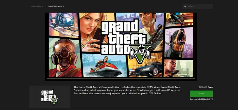 GTA 5 Available for Free on the Epic Games Store