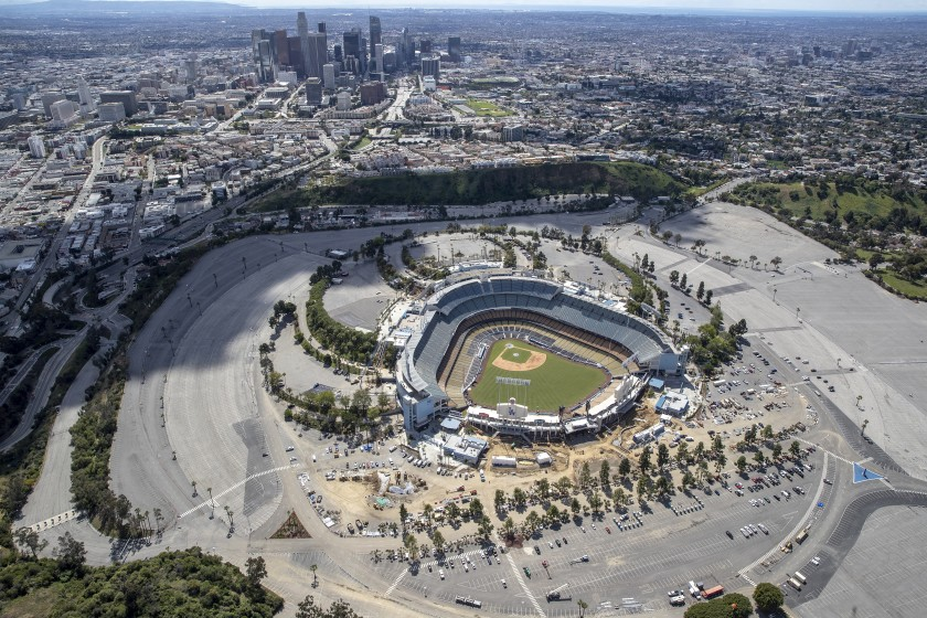 An aerial view of Dodger Stadium on March 25.