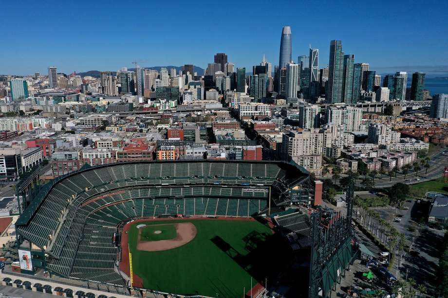 An aerial view from a drone shows Oracle Park, home of the San Francisco Giants, empty on Opening Day March 26, 2020 in San Francisco, California. Photo: Justin Sullivan, Getty Images