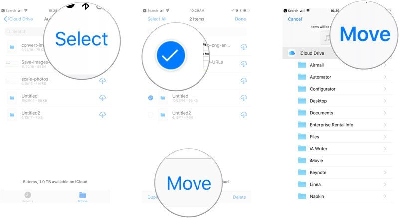 How to move files: Tap Select, Tap files, Tap Move, Tap folder, Tap Move.