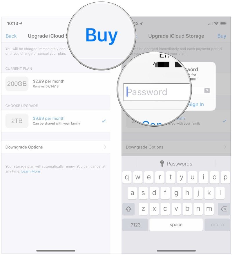 How to increase iCloud Drive storage space:  Tap Buy, Sign in and confirm.