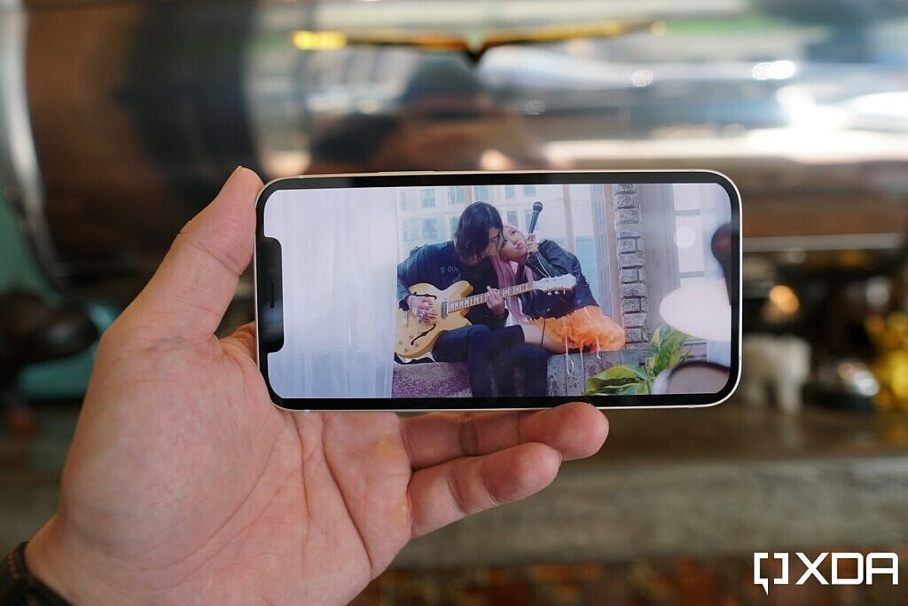 The iPhone 12 notch cutting into video content.