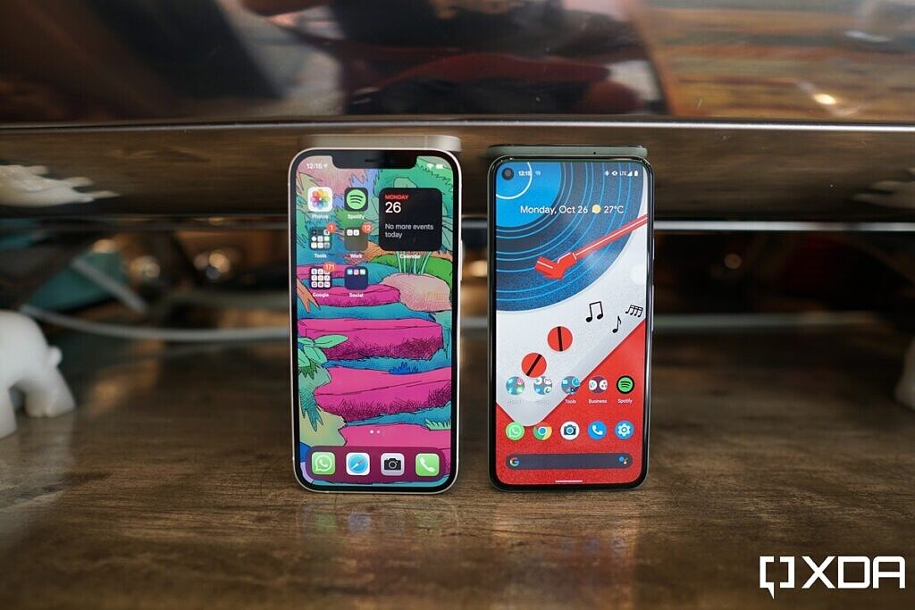 The iPhone 12 and the Pixel 5.