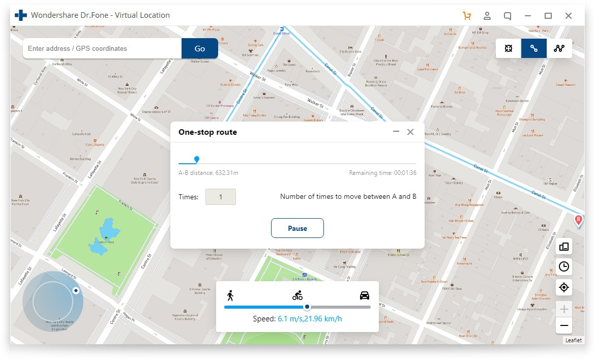 Using the app, you can teleport to a new location, choose a route and even control for speed of travel.