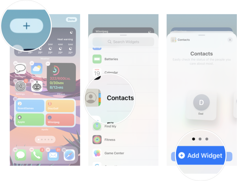 Add Contacts Widget To Your Home Screen In IOS 15: Long press your Home screen ot enter Jiggly mode, tap the + button, tap contacts, and then tap Add Widget.
