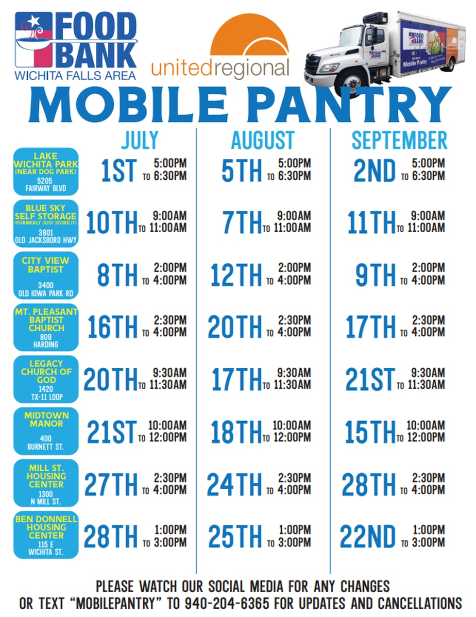WF Area Food Bank Mobile Pantry scheduled throughout June